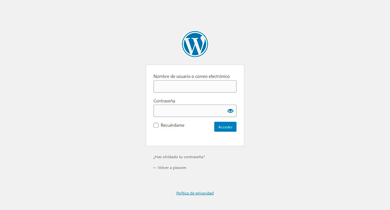Pantalla de Login WordPress